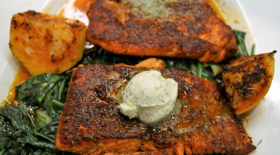 Blackened Salmon with Lemon-Herb Butter